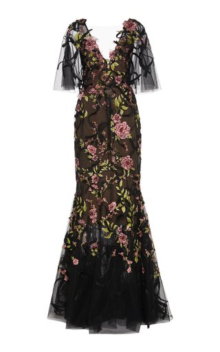 V-Neck Floral Embellished Gown