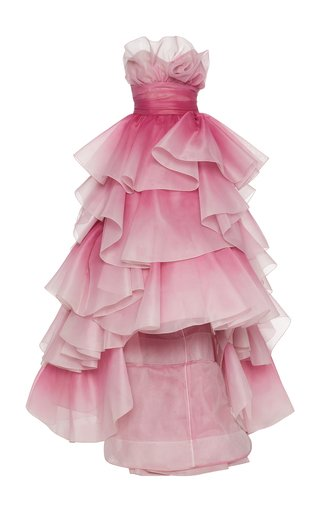 Tiered-Ruffle Strapless Tulle Gown