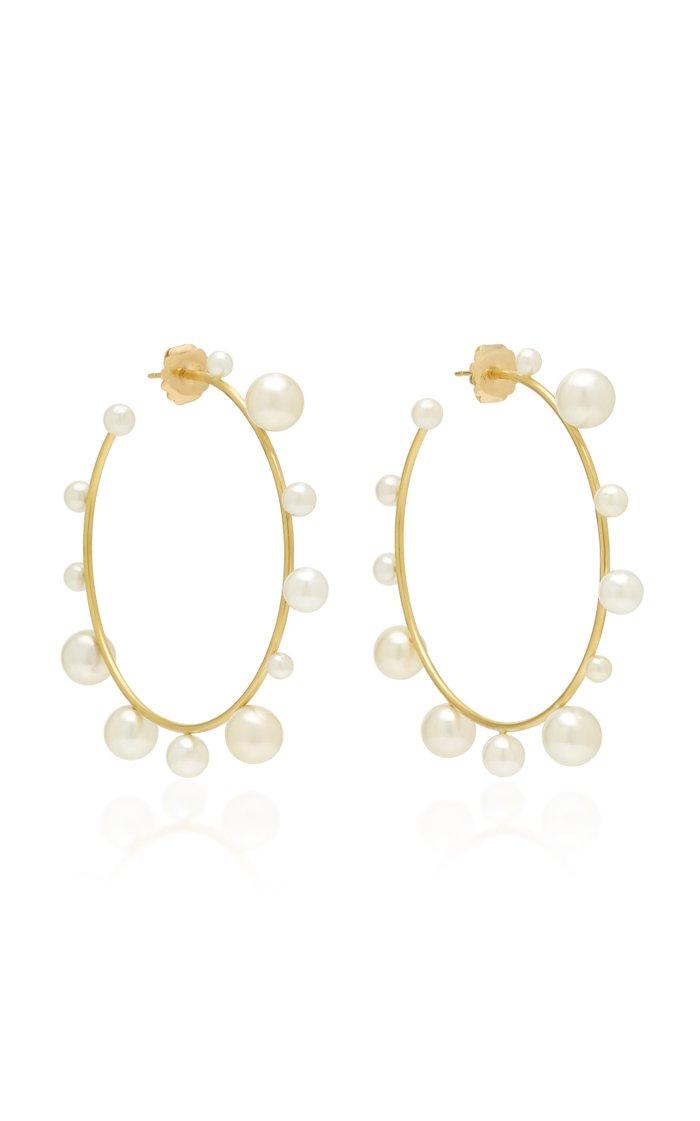 18K Gold And Pearl Hoop Earrings