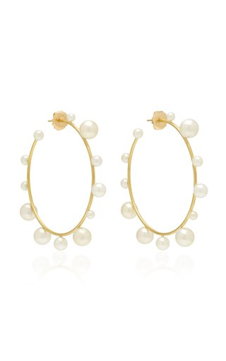18K Gold And Pearl Hoop Earrings