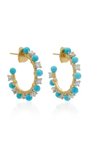 18K Gold, Diamond And Turquoise Hoop Earrings