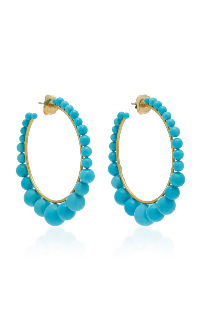 18K Gold And Turquoise Hoop Earrings