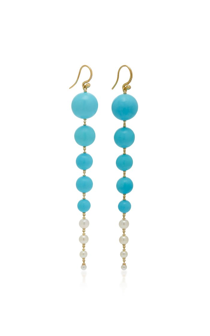 18K Gold And Turquoise Earrings