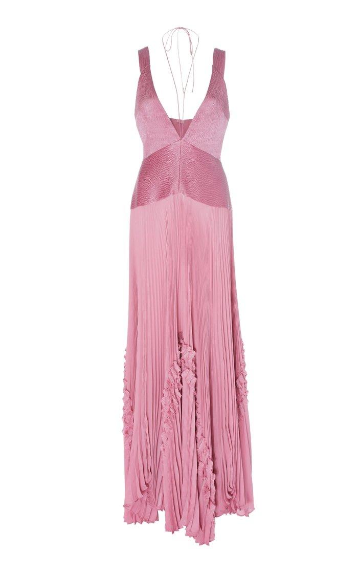 Bellona Pleated Paneled Georgette Maxi Dress