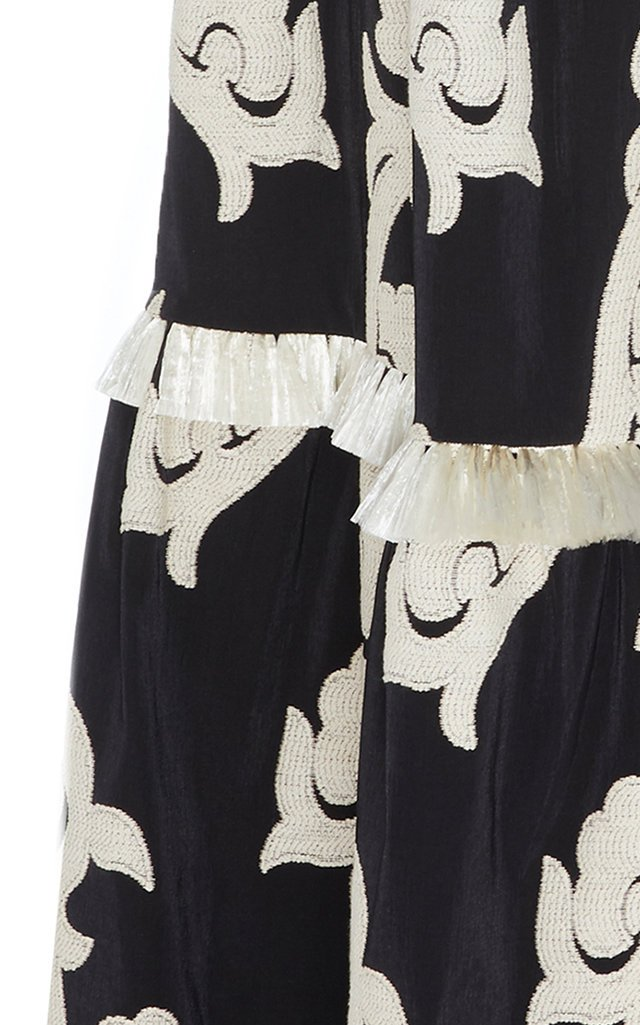 Surrey Embroidered Tiered Cotton-Blend Maxi Skirt