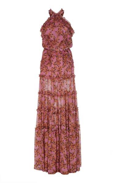 Genevra Ruffled Printed Georgette Maxi Dress