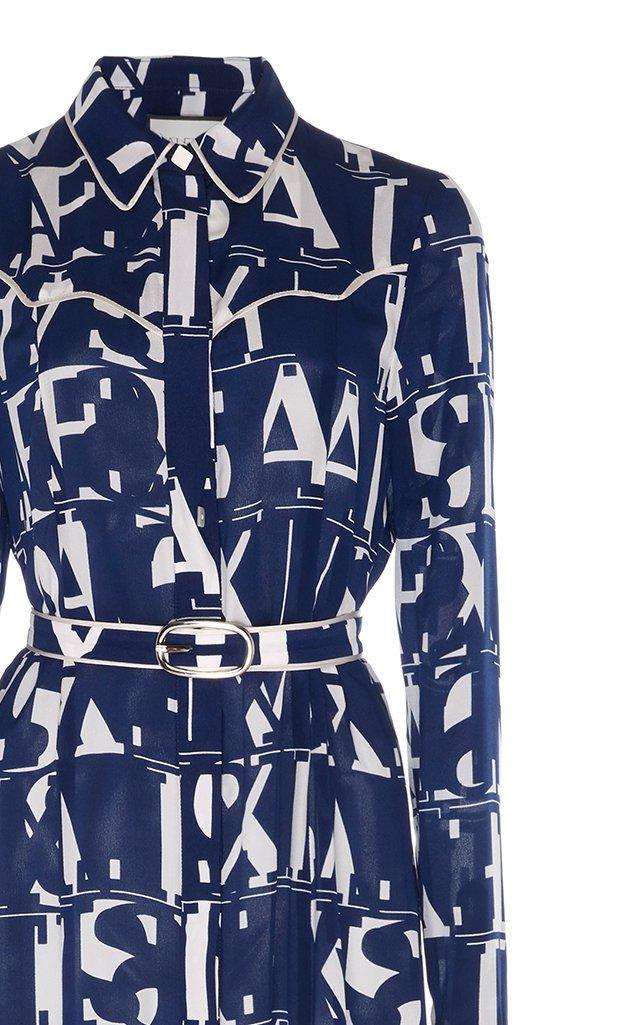 Marvella Belted Printed Georgette Midi Dress