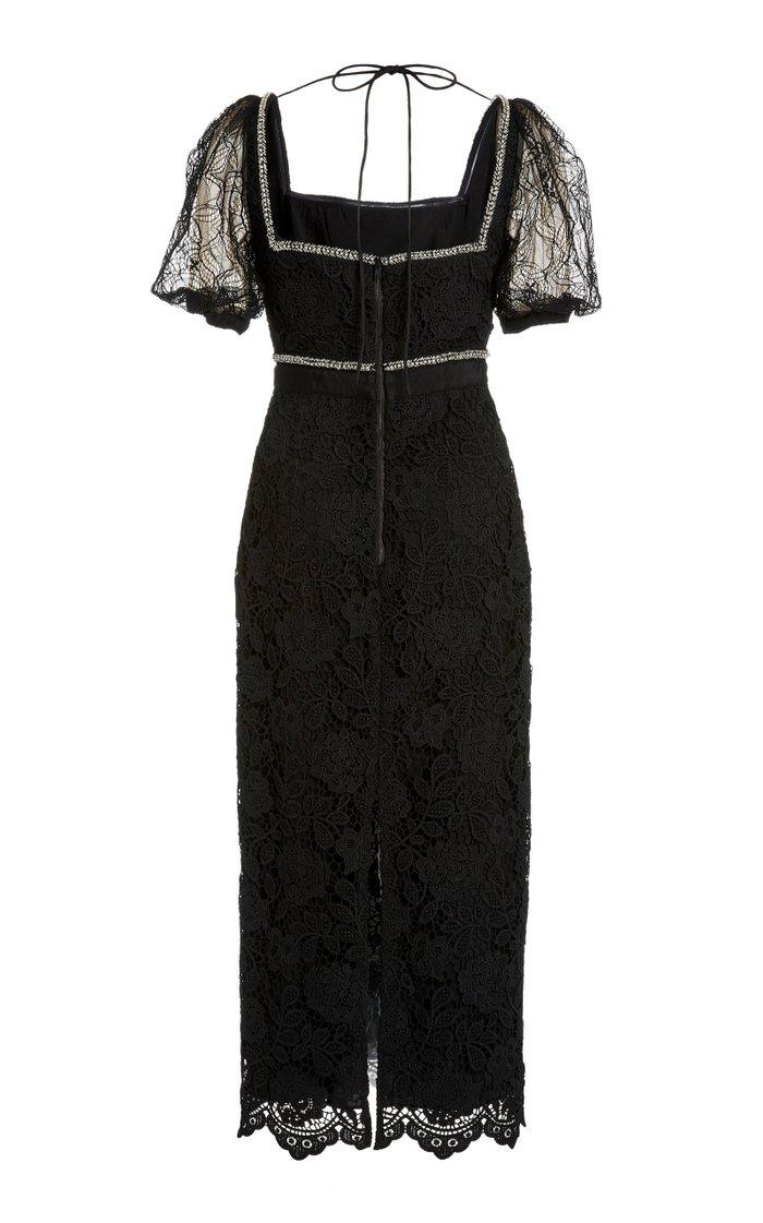 Square-Neck Lace Midi Dress