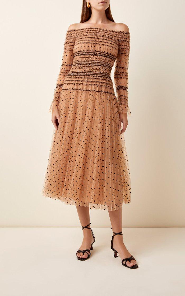 Embroidered Shirred Organza Dress