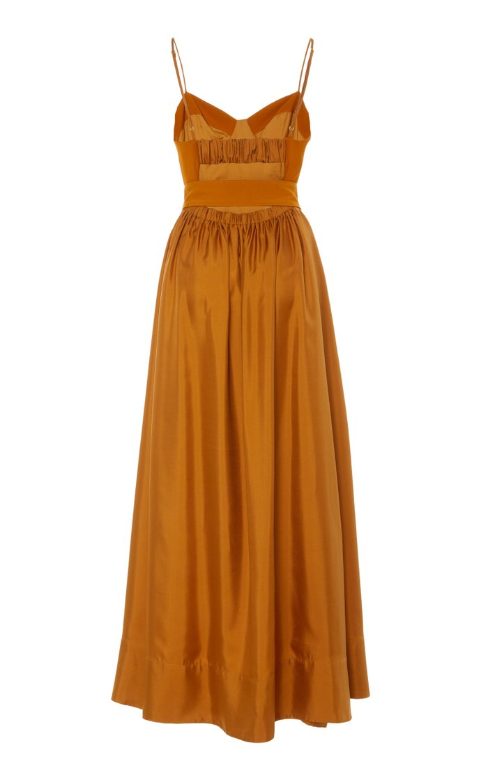Tempest Belted Crepe-Paneled Silk Maxi Dress
