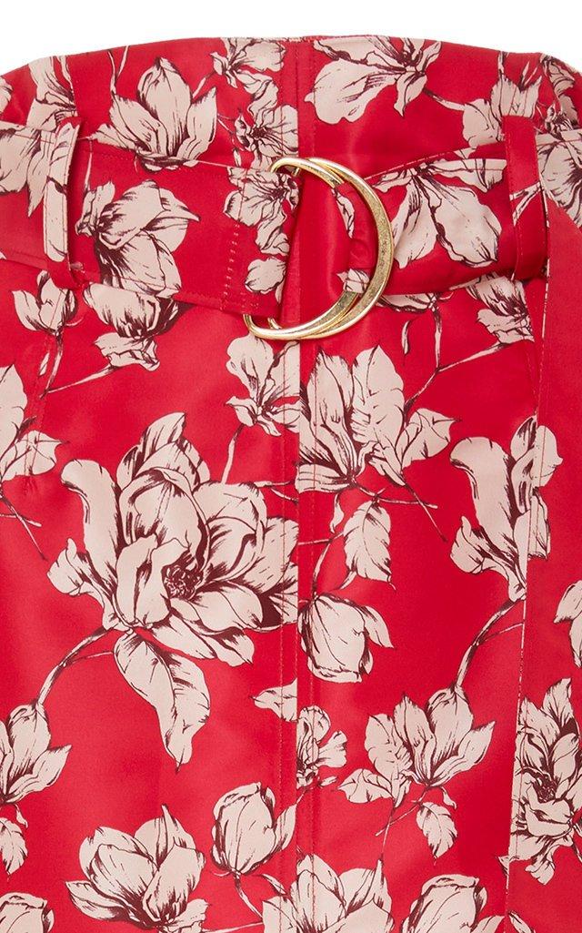 Odina Belt-Accented Crepe De Chine Midi Skirt