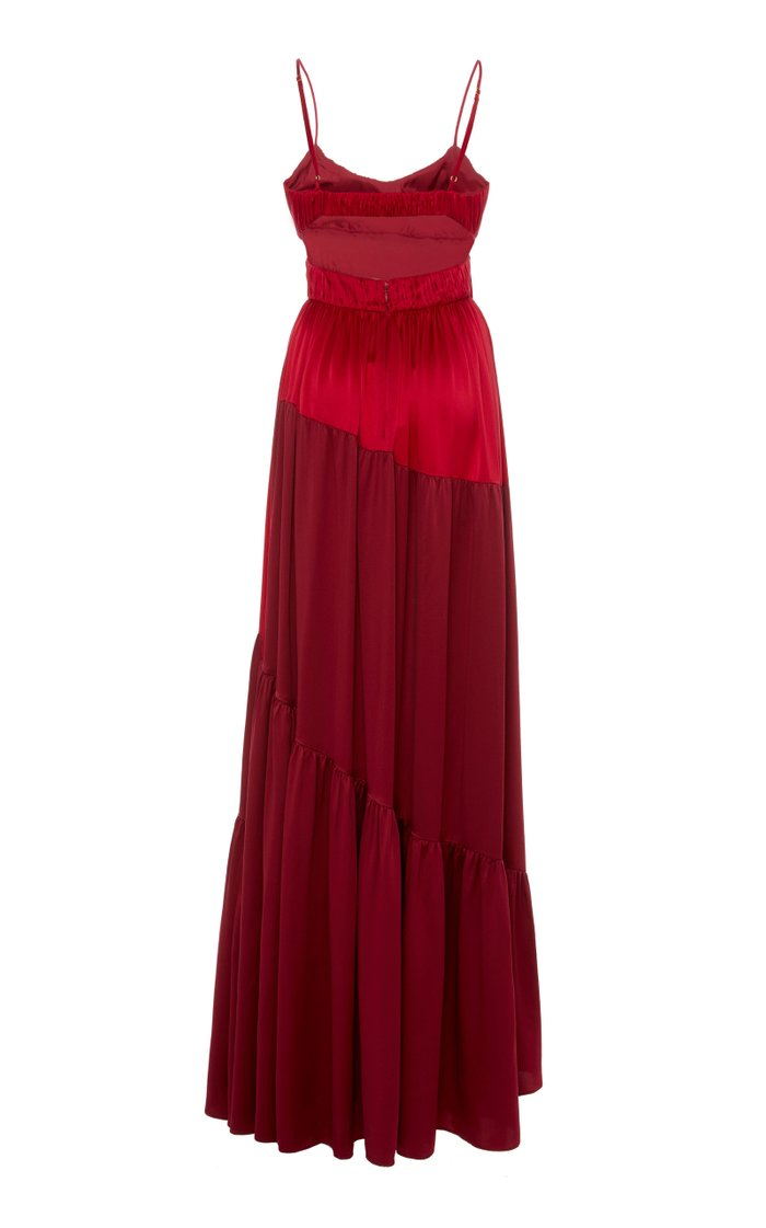 Zaidee Two-Tone Silk Maxi Dress
