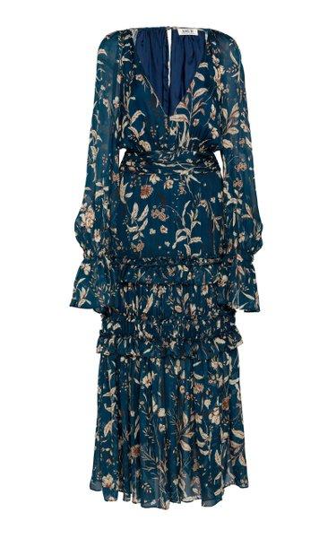 Reah Printed Ruffled V-Neck Silk Dress