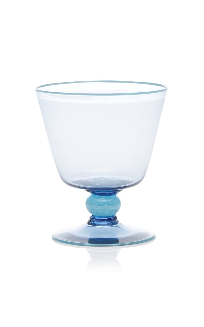 Footed Blue Water Glass