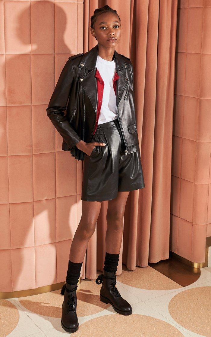 Pleated Leather Biker Jacket