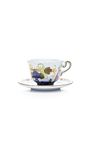 Set-Of-Four Carnation Coffee Cups and Saucers