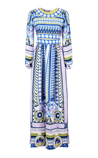 Pemberley Printed Satin Maxi Dress