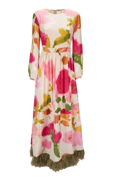 Pemberly Feather-Embellished Silk Maxi Dress