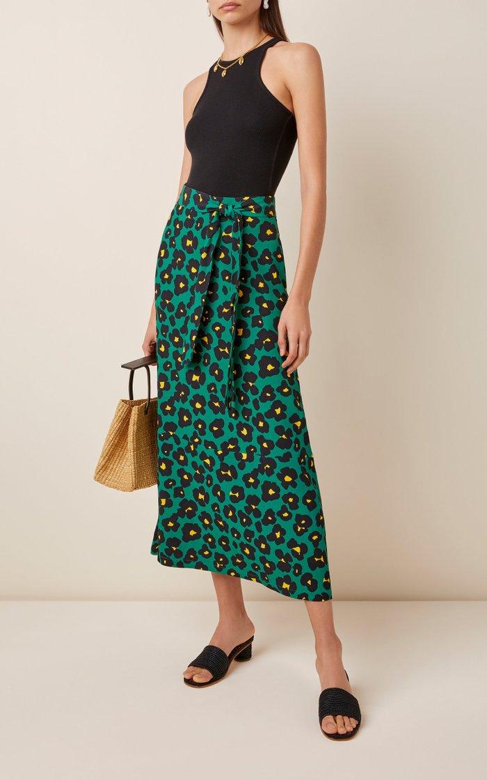 Printed Crepe Midi Skirt