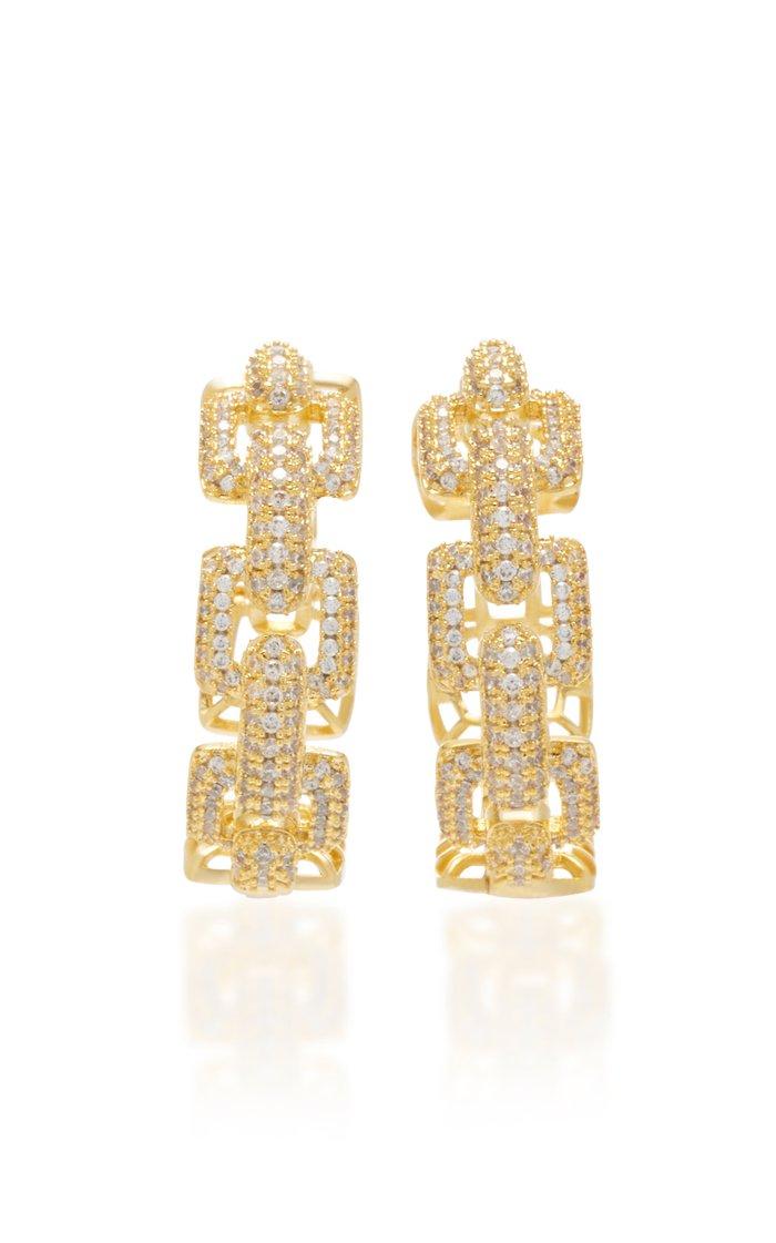 Gold-Tone And Crystal Hoop Earrings