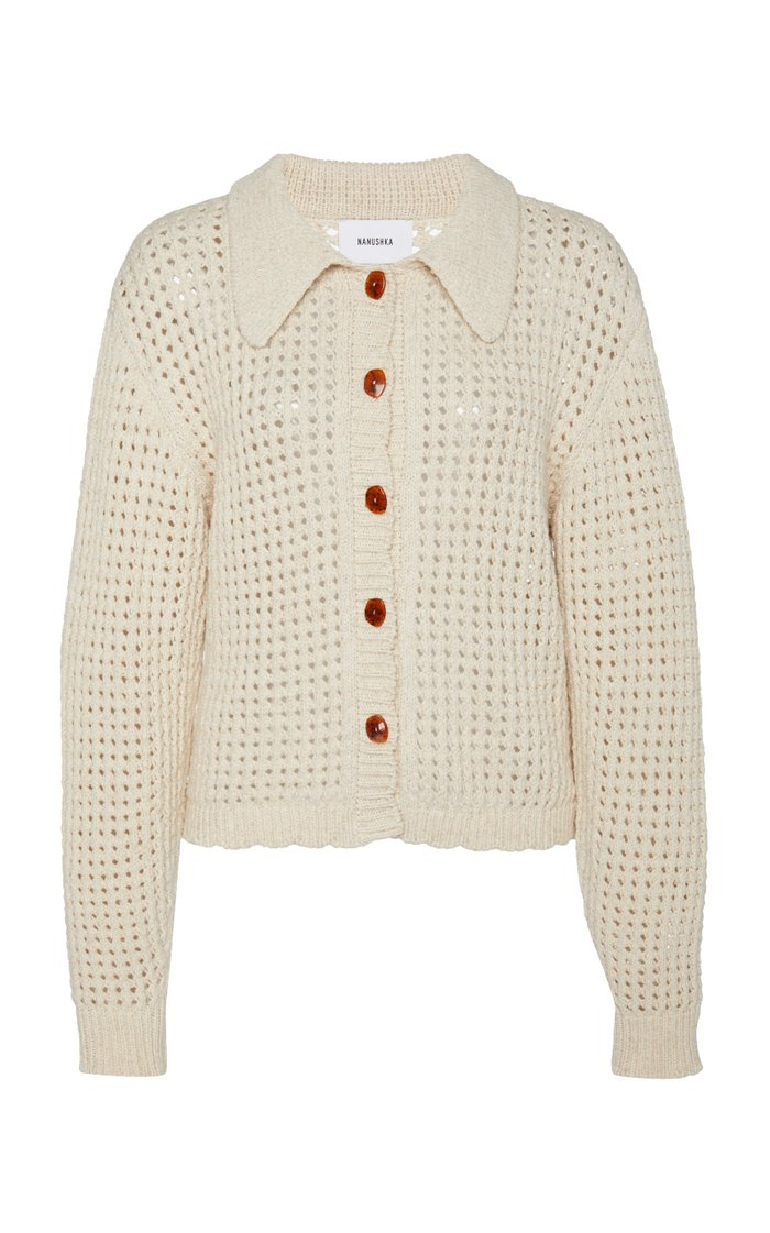 Andrea Open-Knit Cotton Cardigan