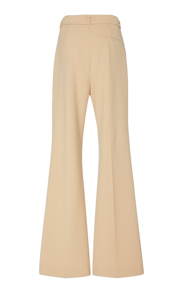Clara Belted Crepe Flared Pants