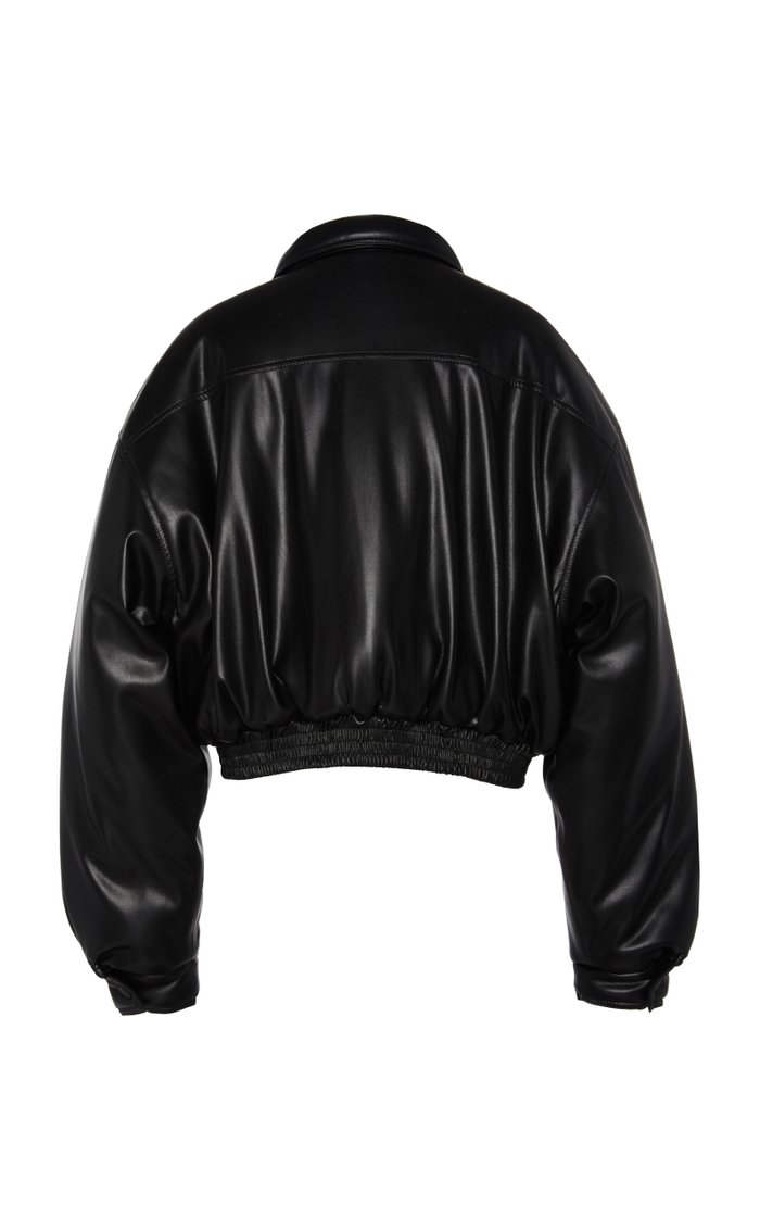 Bomi Cropped Faux Leather Bomber Jacket