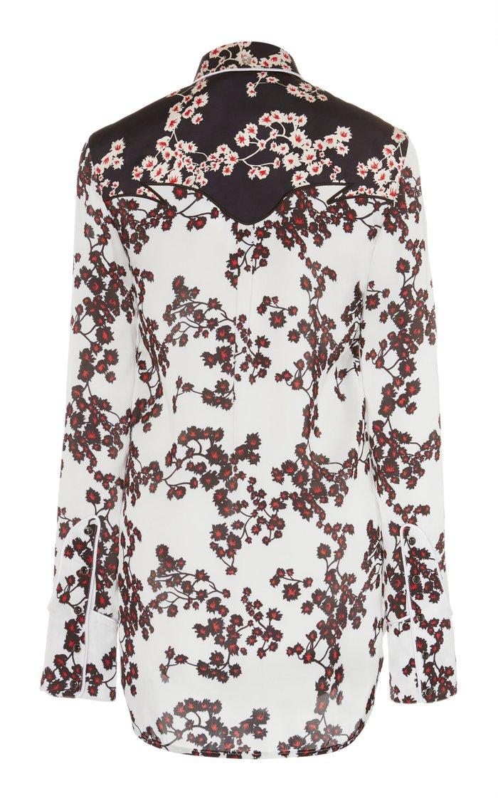 Two-Tone Floral-Print Crepe De Chine Shirt