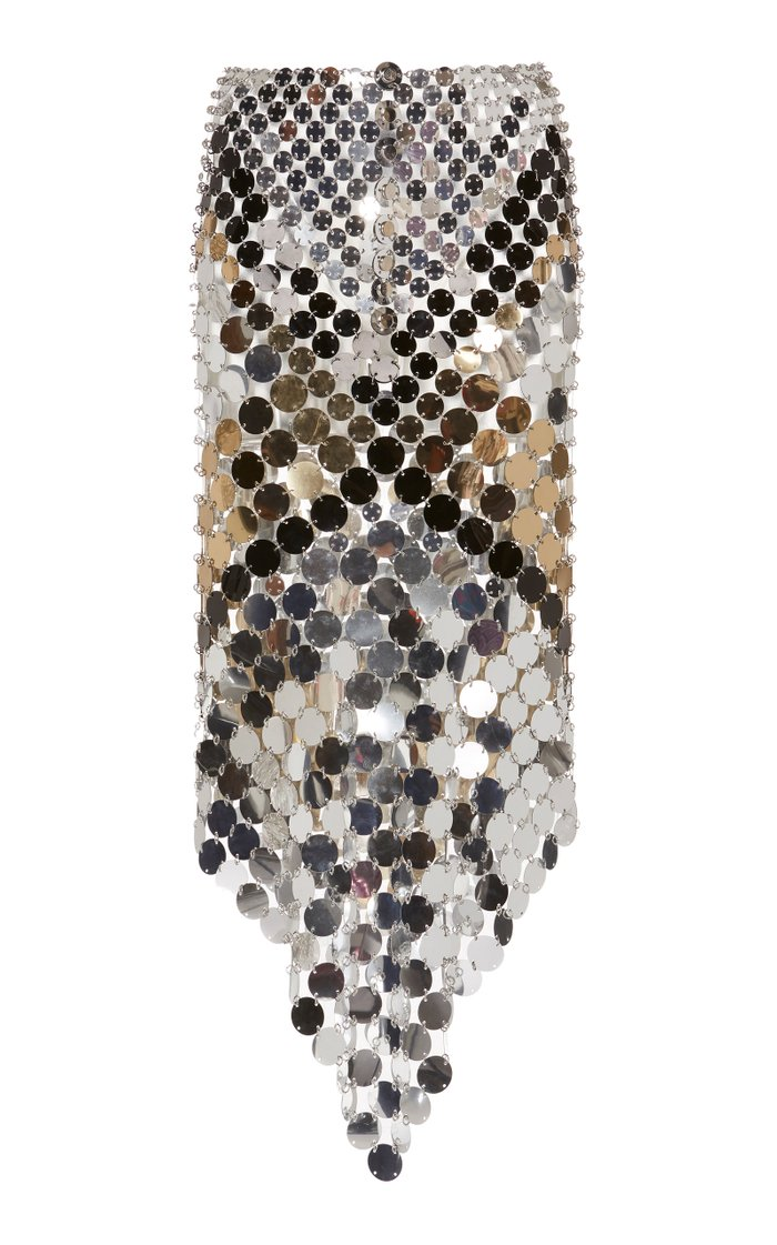 Asymmetric Paillette-Embellished Chainmail Midi Skirt