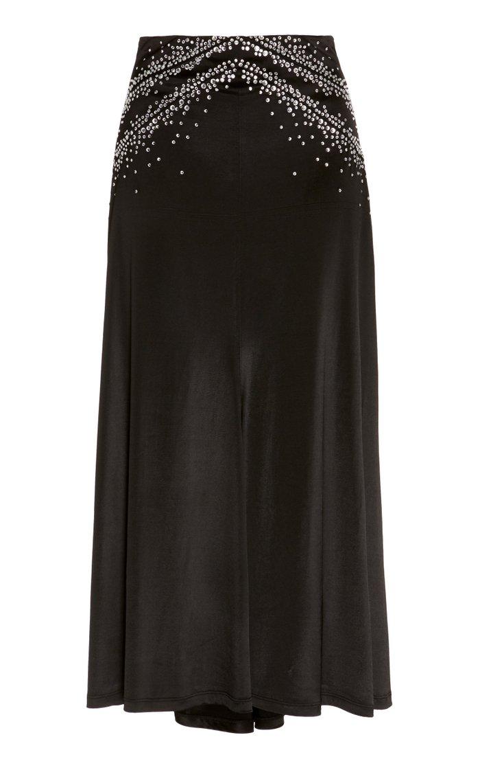 Embellished Satin Midi Skirt