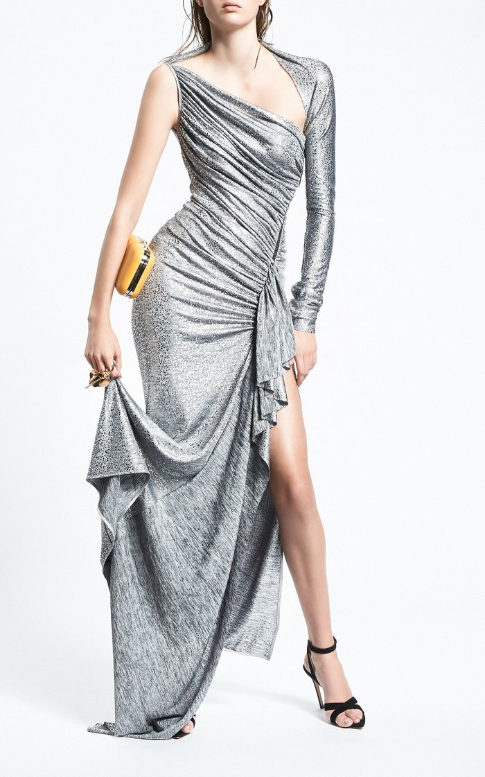 Arousal Asymmetric Ruched Metallic Stretch-Jersey Gown