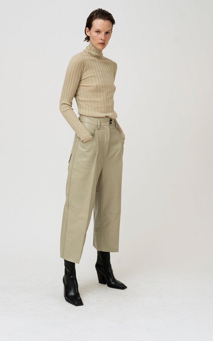 Karen Rib-Knit Wool Turtleneck Top