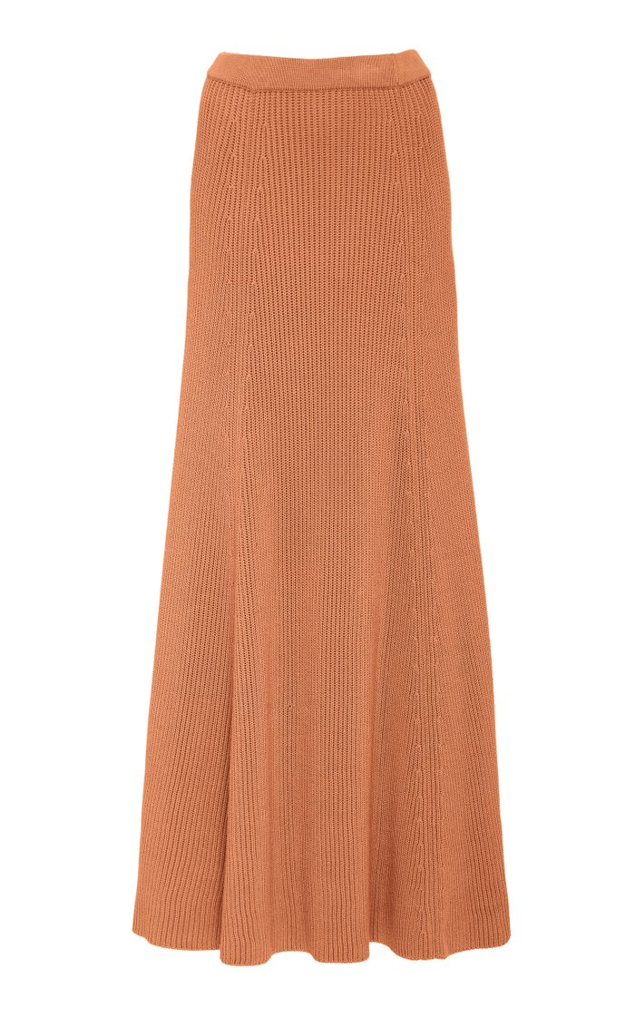 Cote Anglaise Ribbed Wool Maxi Skirt