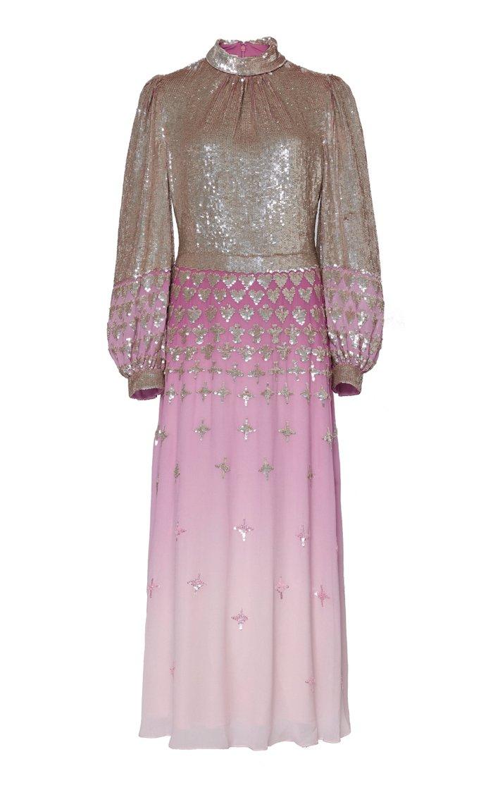 Mirela Glittered Ombré Silk-Effect Dress