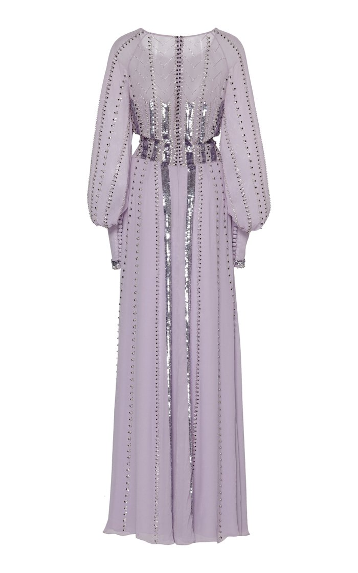 Queenie Studded Sequin-Embellished Silk Gown