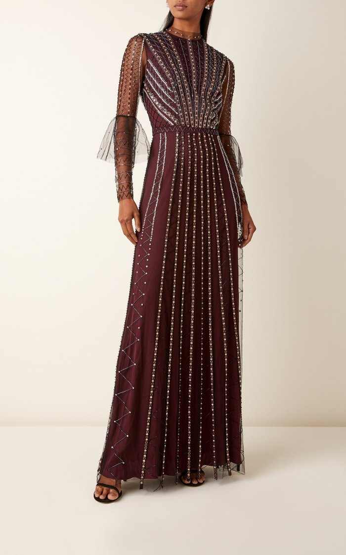 Queenie Bead-Embellished Tulle Gown