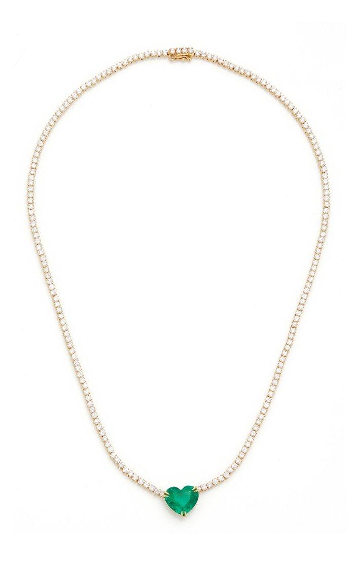 Hepburn Heart-Shaped Emerald Necklace