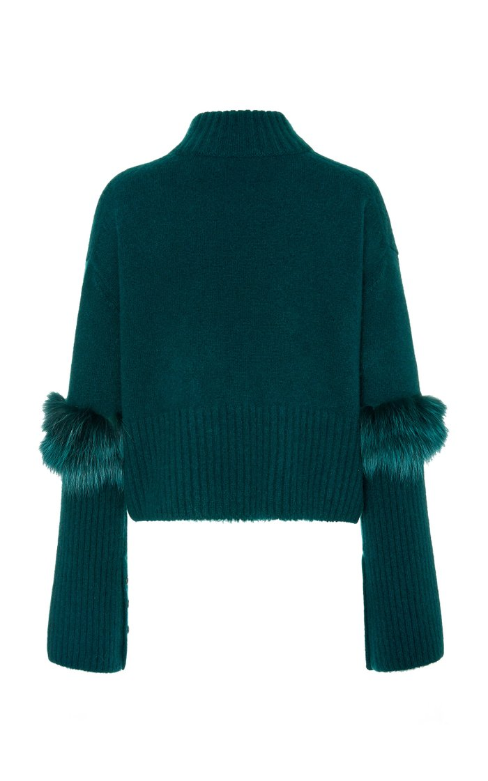 Exclusive Fur-Trimmed Cashmere and Silk-Blend Sweater