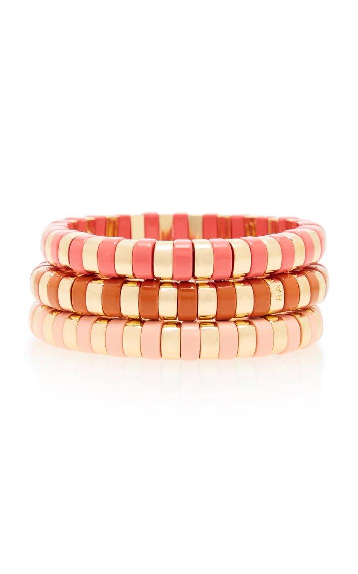 Sunset Set-Of-Three Gold-Tone and Enamel Bracelets
