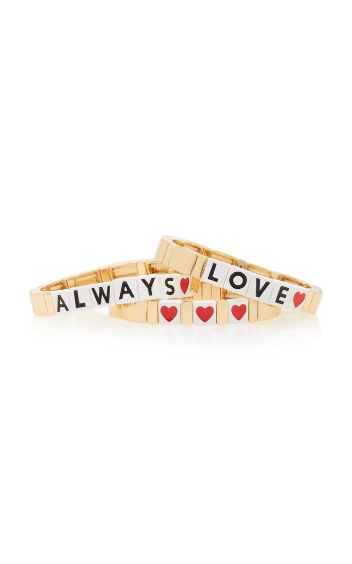 Love Always Set-of-Three Gold-Plated and Enamel Bracelets