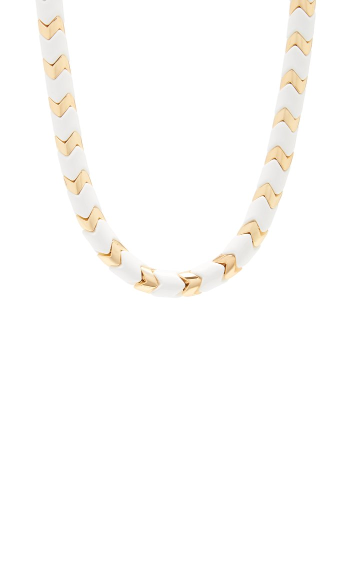 Full Moon Wave Gold-Tone and Enamel Necklace