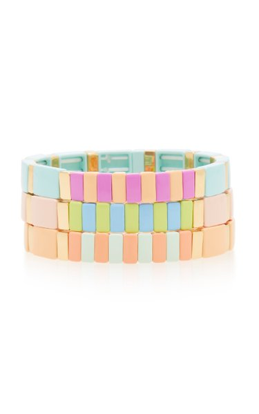 Soft Serve Set-of-Three Gold-Tone and Enamel Bracelets