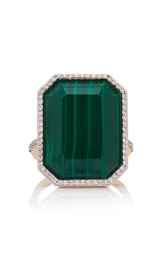 White Gold, Malachite And Diamond Ring