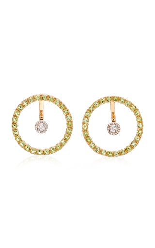 Gold, Peridot And Diamond Hoop Earrings