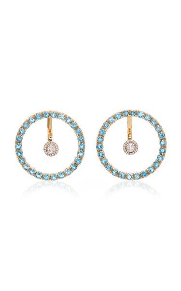 Gold, Blue Topaz And Floating Diamond Earrings