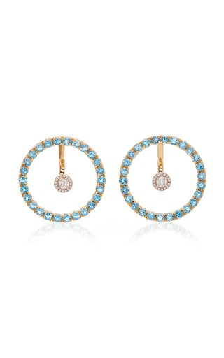 Gold, Blue Topaz And Floating Diamond Earrings