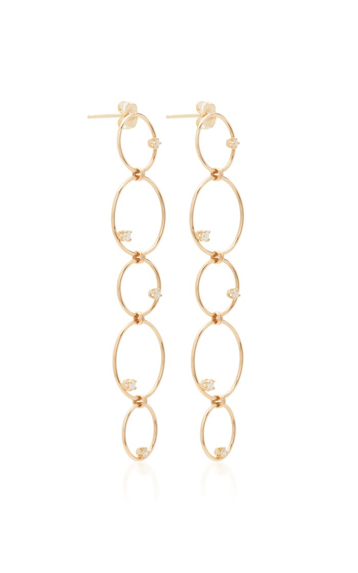 14K Long Mixed Linked Earrings With Prong Set Diamond Circles