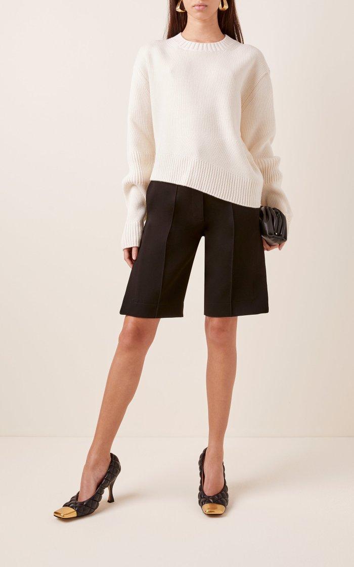 Cutout Back Cropped Wool Sweater