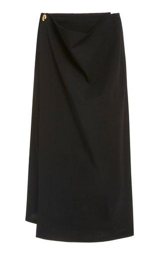 Wrap-Detailed Wool Skirt