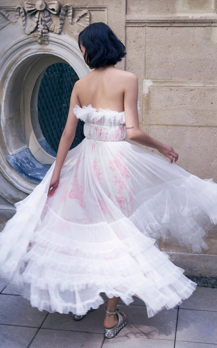 Strapless Ruffled Tulle Gown